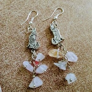 Earrings with Howling Coyotes and Rose Quartz